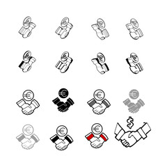 Set of vector Collection modern vector. Check Hand Money multi type of 3d isometric, solid, line, scribble hatch, doodle, shadow isometric and a little colour on white background eps10