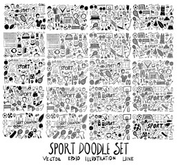 Hand drawn doodle vector line Sport element icon set on White background eps10