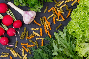 Different fresh ingredients for cooking italian pasta. Italian kitchen background. Italian healthy food concept.