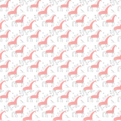 Seamless pattern oriental. Mezen traditional painting horse. Watercolor illustration