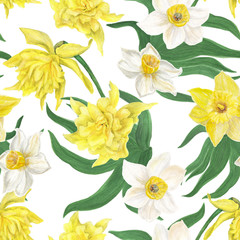 Watercolor painting seamless pattern with daffodil flowers. Spring wallpaper