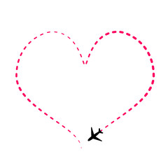 Airline route in pink heart shape with plane icon on white