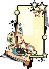 Retro music design - turntable, speakers and stars