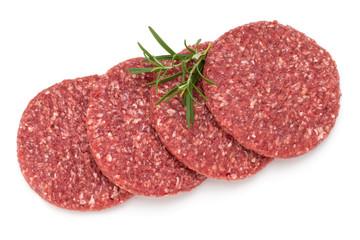 Raw fresh hamburger meat isolated on white.