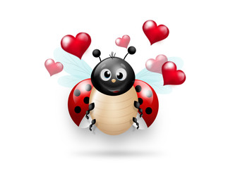 Ladybug with red hearts