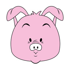 Funny pig cartoon vector illustration graphic design