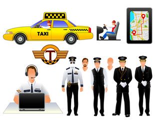 Taxi drivers uniform and cab, vector