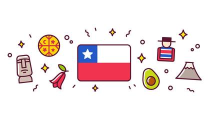 Chile symbols banner illustration