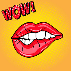 Sweet sexy pop art Pair of Glossy Vector Lips. Open Sexy wet red lips with teeth pop art set orange and yellow backgrounds, vector illustration, pattern, wow lettering
