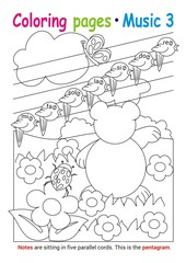 Coloring books page 3 – learn about music with Teddy the bear– educational elementary game