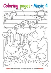 Coloring books page 4 – learn about music with Teddy the bear– educational elementary game