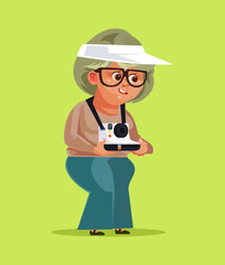 Happy smiling old woman granny grandmother tourist taking photos pictures on camera. Travel vacation holiday retirement tourism. Vector flat cartoon isolated illustration