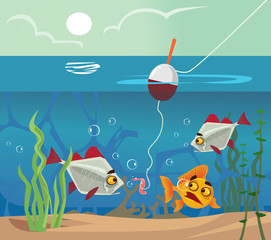 Fish at bottom looking at worm bait hook. Fishing water sea lake concept. Vector flat cartoon illustration