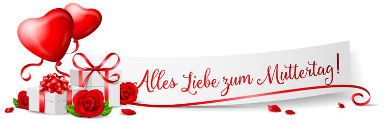 Alles Liebe zum Muttertag Banner mit Rosen und Geschenken