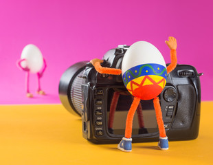 Egg photographer in a studio taking shot of egg model