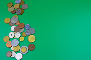 worlds coins background green texture, free sprace