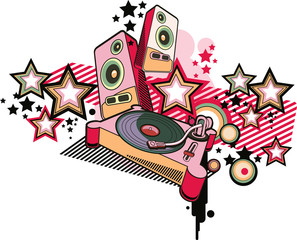 Turntable and speakers on trendy starry background