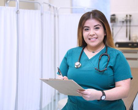 Healthcare professionals, female hispanic nurse