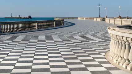 Beautiful view of the famous Terrazza Mascagni in Livorno, Tuscany, Italy