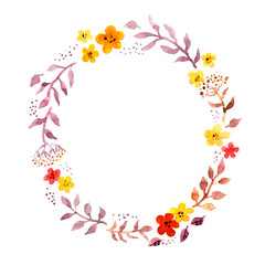 Floral ring wreath with retro naive cute flowers. Watercolour hand painted round frame for postcard