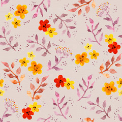 Background with cute flowers and leaves. Seamless floral pattern with hand painted ditsy design