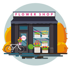 Flower shop. Facade of an flower shop. Illustration of an flower shop in a flat style. Vector illustration Eps10 file