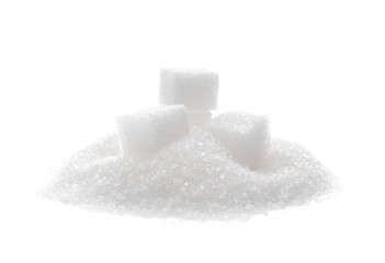 Refined sugar on white background Wall mural