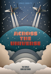 Paper art style. Startup rocket concept. Rocket launch poster. Starry sky. Space fighter vector illustration. Space oddity. Across the universe.