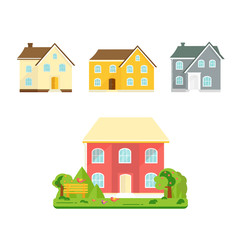 Abstract spring background with cozy home, house, cottage, with trees, flowers, bench.