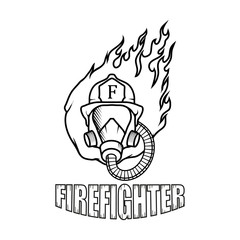 Firefighter logo. Fire Department. Human with firefighter helmet.