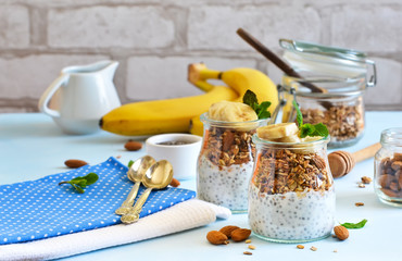 Yogurt with chia seeds, granola and banana for breakfast. Good morning!
