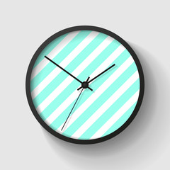 Simple striped wall Clock in realistic style, minimalistic timer on light background. Business watch. Vector design element for you project