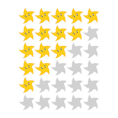Five star rating icons. Evaluation of the hotel, service, product, quality. Simple flat isolated vector illustration.