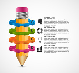 Educational infographic with a pencil and gears. Can be used for education or business presentations, information banner.