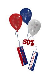 bunte Luftballons in rot, blau und weiß mit Sale 30% und Werbebanner für den amerikanischen Unabhänigkeitstag. 3d render