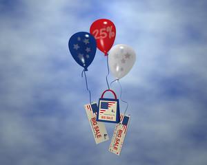 Luftballon mit Sternen, Sale 25%, Papiertasche und Werbebanner mit Wolkenhimmel für den amerikanischen unabhänigkeitstag. 3d render