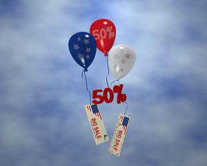 Luftballons mit Sternen, Sale 50% und Werbebanner mit Wolkenhimmel für den amerikanischen unabhänigkeitstag. 3d render
