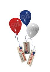 Luftballons in rot, blau und weiß mit Sale 50% und Werbebanner für den 4. Juli. 3d render