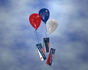 Luftballons mit Sternen, Sale 50% und Werbebanner mit Wolkenhimmel für den 4. Juli. 3d render