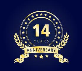 14 Years Anniversary Gold Vector