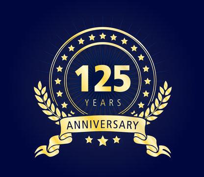 125 Years Anniversary Gold Vector