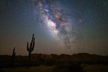 Aluminium Prints Night The Milky Way and starry night night in the Arizona desert.