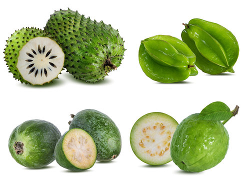 Collection of exotic fruits isolated on a white background