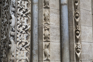 Romanesque sculptures depicting animals at the entrance of the abbey of Moissac, France