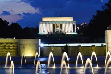 Washington D.C. at night - Lincoln Memorial as seen from World War II Memorial