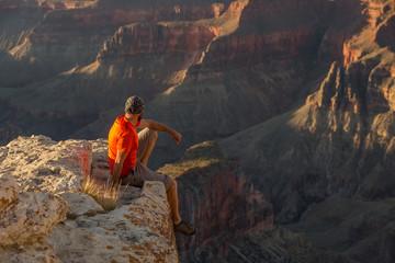 A hiker in the Grand Canyon National Park, North Rim, Arizona, USA