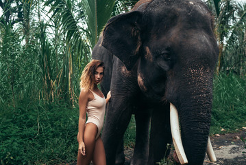 Portrait of blonde model with curly hair hugging elephant near forest. Beautiful girl with fit body posing in white swimsuit. Concept of zoo, tropical photoshoot
