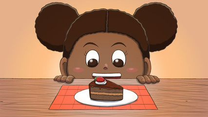 Close-up illustration of a black girl staring at a cake slice on the table.