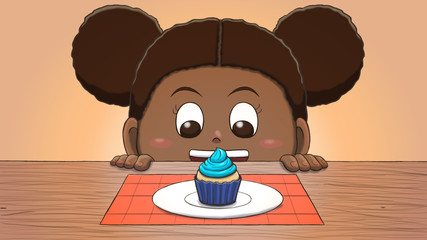 Close-up illustration of a black girl staring at a blue cupcake on the table.