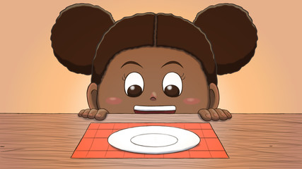 Close-up illustration of a black girl staring at an empty plate on the table.